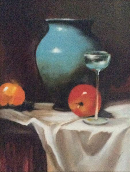 Gill Bowen. Blue Glass with Fruit