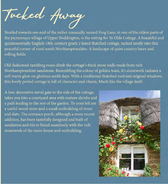 An example page from an illustrated brochure for a high-end UK country cottage property with creative copy, written by Andrew Baskott, creative freelance copywriter
