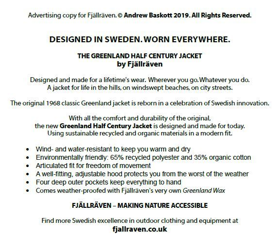Example of advertising copy for outdoor clothing by Swedish company Fjallraven with the headline: Designed in Sweden. Worn everywhere.