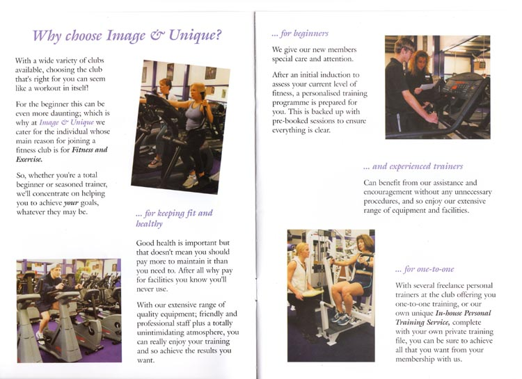 Copy for inner pages of a multi-page brochure for Northampton gym