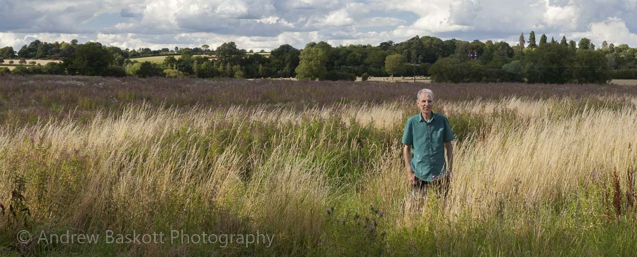 An environmental portrait of me in a wild habitat created among farmland in Northamptonshire.