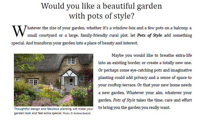 Copy forming part of a leaflet promoting a garden designer, written by Andrew Baskott, Freelance Copywriter