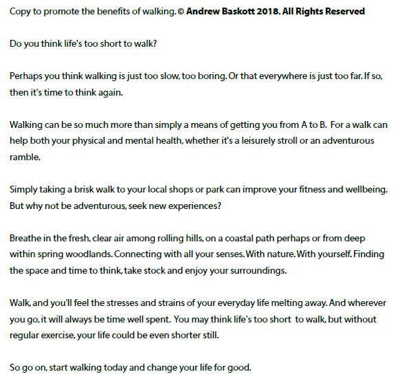 Copy written promoting the physical and mental health benefits of walking
