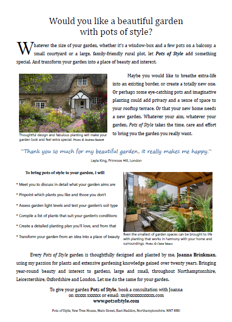 Copy forming part of a leaflet promoting a garden designer, written by Andrew Baskott, Freelance Copywriter