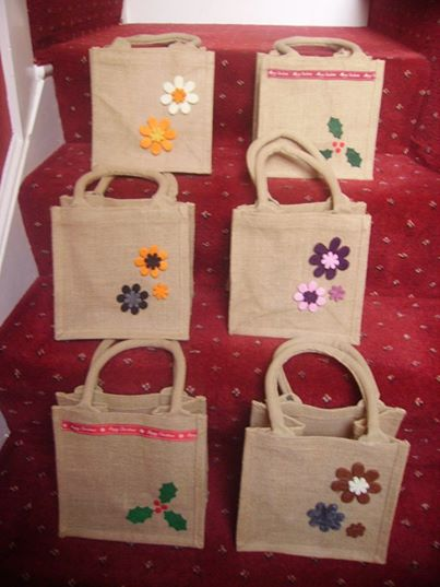 Hand decorated jute bags