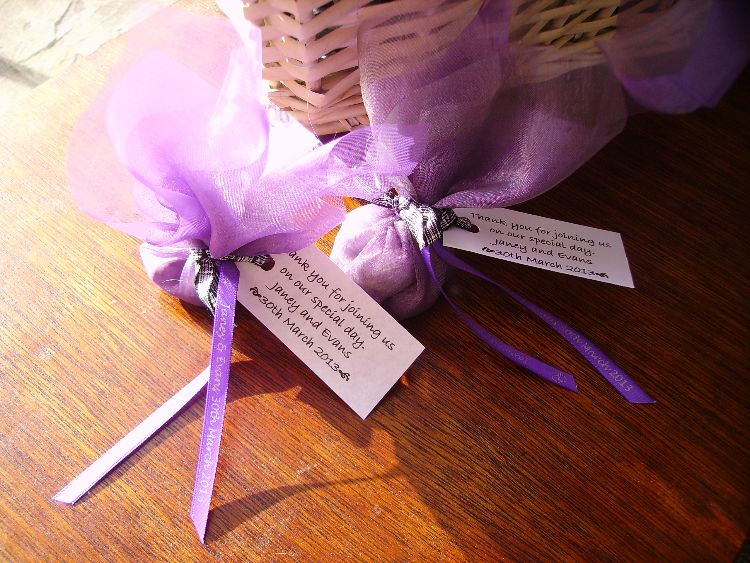 Individually made Wedding Favours