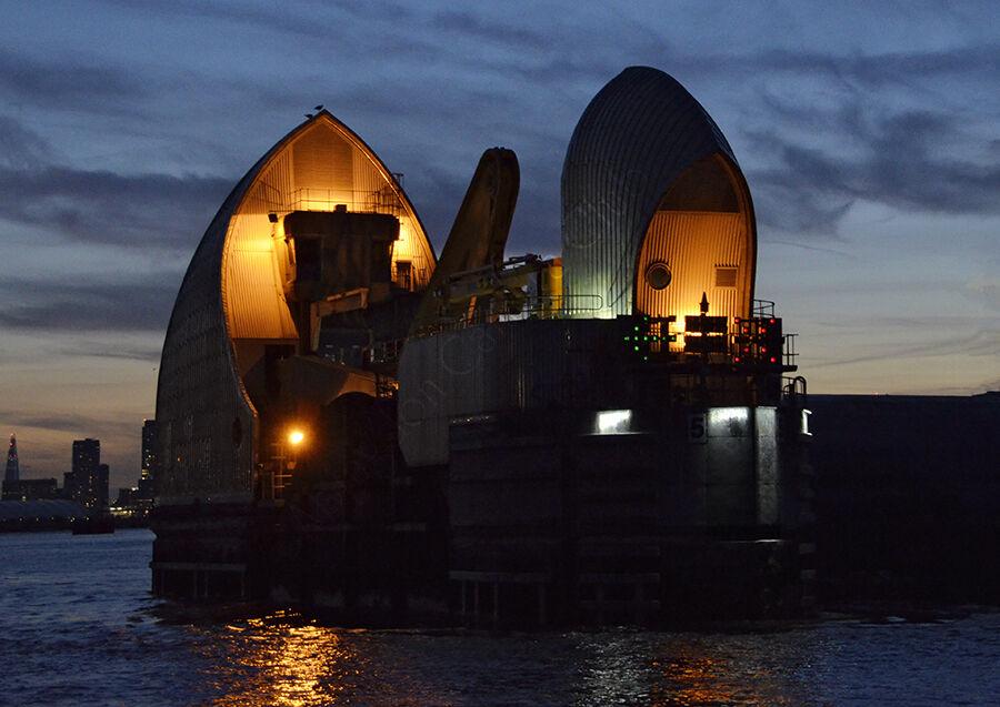 Thames Barrier at dusk