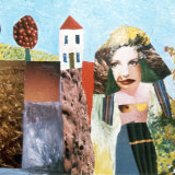 Garden Gal, oils and print images on card, 30x50cm, 1975
