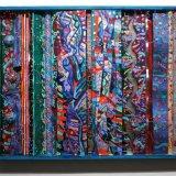 Geistrift, acrylic on canvas, board, wood, acrylic sheet, aluminium foil, mirrors, textiles, lead tape, acrylic & polystyrene hemispheres 82x102x8cm, 2004
