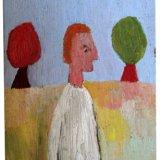 Man & Trees, oil on board, 26x18cm, 1973