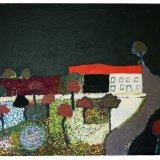 Terrace, acrylic on hessian, 86x110cm, 1970