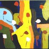 Treescape, acrylic on board, 30x46cm, 1970