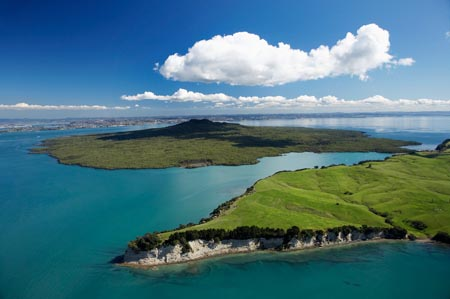 Motutapu Island (closest) and Rangitoto Island, Auckland, North Island, New Zealand - Aerial