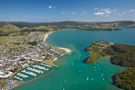 Marina, Whitianga Harbour, Whitianga, Coromandel Peninsula, North Island, New Zealand - aerial