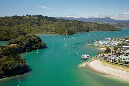Whitianga Harbour, Whitianga, Coromandel Peninsula, North Island, New Zealand - aerial