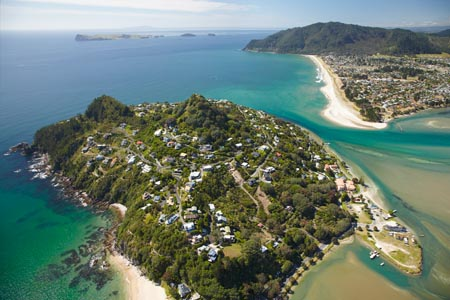 Paku Hill, Pauanui and Tairua Harbour, Coromandel Peninsula, North Island, New Zealand - aerial