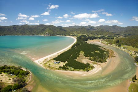 Kennedy Bay, Coromandel Peninsula, North Island, New Zealand - aerial