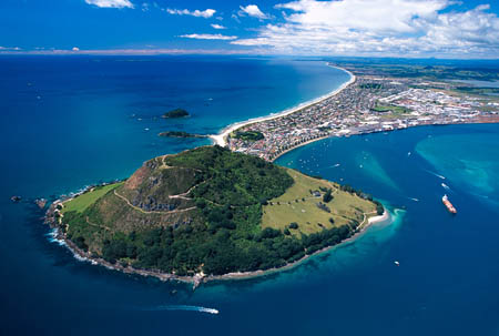 Mount Maunganui & Tauranga Harbour, North Island, New Zealand  - aerial