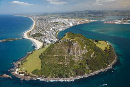 Mount Maunganui, and Tauranga Harbour, Bay of Plenty, North Island, New Zealand - aerial