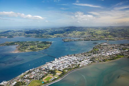 Tauranga and Tauranga Harbour, Bay of Plenty, North Island, New Zealand - aerial