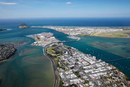 Tauranga, Tauranga Harbour, and Mount Maunganui (in distance),  Bay of Plenty, North Island, New Zealand - aerial