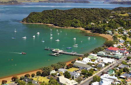 Russell, Bay of Islands, Northland, North Island, New Zealand - aerial