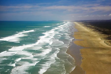 Ninety Mile Beach, Northland - aerial