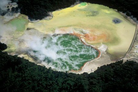 Champagne Pool (green) and Artists Palette (yellow), Waiotapu Thermal Reserve, near Rotorua, North Island, New Zealand - aerial