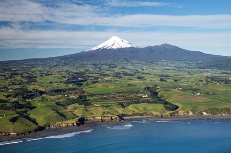 Taranaki Coastline near New Plymouth, Farmland and Mt Taranaki / Mt Egmont, Taranaki, North Island, New Zealand - aerial