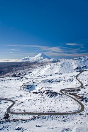 Bruce Road up Mt Ruapehu, and Mt Ngauruhoe, Tongariro National Park, Central Plateau, North Island, New Zealand - aerial