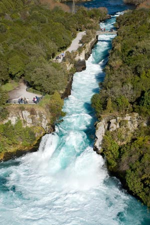 Huka Falls, Waikato River, near Taupo, North Island, New Zealand - aerial