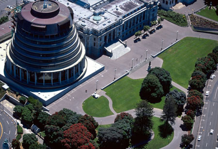 The Beehive, Parliament Buildings, Parliament Grounds, Wellington, North Island, New Zealand - aerial