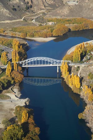 Bridge and Clutha River, Alexandra, Central Otago, South Island, New Zealand - aerial