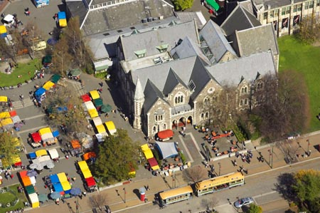 Weekend Market, Arts Centre, Christchurch, South Island, New Zealand - aerial