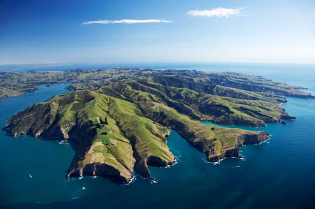 Akaroa Harbour (left) and Banks Peninsula, Canterbury, South Island, New Zealand- aerial