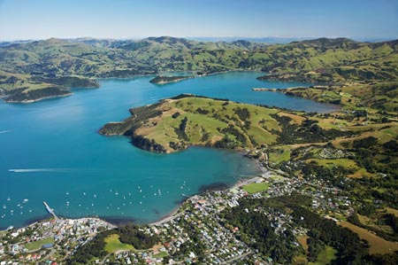 Akaroa, Akaroa Harbour, Banks Peninsula, Canterbury, South Island, New Zealand - aerial