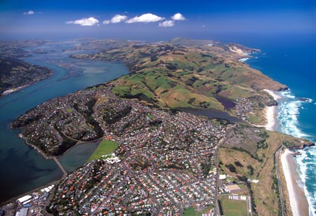 Dunedin, Otago Harbour and Otago Peninsula, South Island, New Zealand - aerial