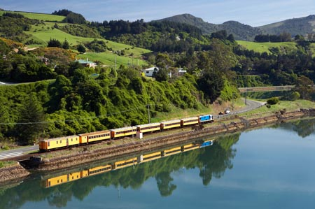 Seasider Train, Blanket Bay, Otago Harbour, Dunedin, South Island, New Zealand - aerial