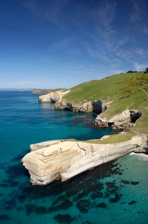 Cliffs at Tunnel Beach, Dunedin, South Island, New Zealand - aerial