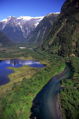 Lake Brown & Arthur River, Arthur Valley, Milford Track, Fiordland National Park - aerial