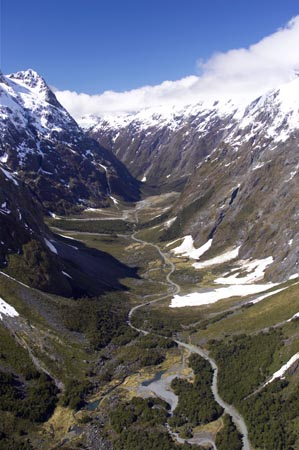 Milford Road, Upper Hollyford Valley, Fiordland National Park, South Island, New Zealand - aerial