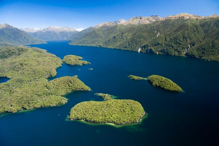 Dome Islands and South Fiord, Lake Te Anau, Fiordland National Park, South Island, New Zealand - aerial