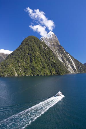 Tour Boat & Mitre Peak, Milford Sound, Fiordland National Park, South Island, New Zealand - aerial
