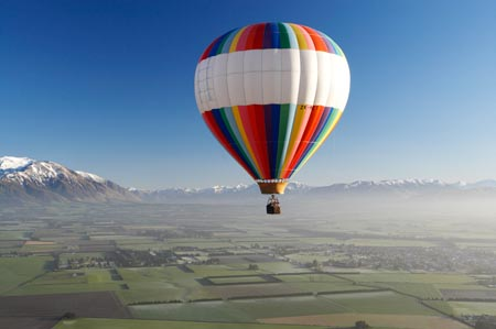 Hot-air Balloon, near Methven, Canterbury Plains, South Island, New Zealand - aerial