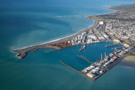 Port of Timaru, and Caroline Bay (right), Timaru, South Canterbury, South Island, New Zealand - aerial
