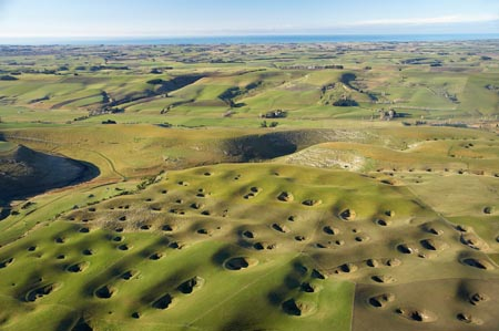 Sinkholes, Craigmore, Maungati, near Timaru, South Canterbury, South Island, New Zealand - aerial
