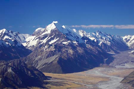 Aoraki / Mt Cook, Aoraki/ Mt Cook National Park, Southern Alps, South Island, new Zealand - aerial