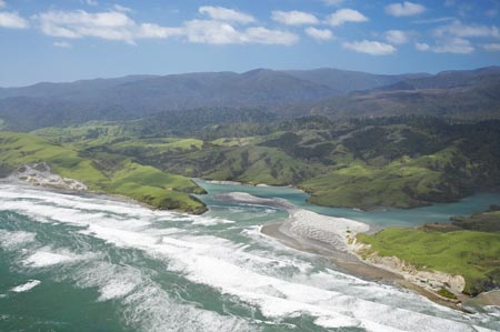 Anaweka River Mouth, NW Nelson Region, South Island, New Zealand  - aerial