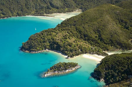 Mosquito Bay (bottom right) and Bark Bay (top left), Abel Tasman National Park, Nelson Region, South Island, New Zealand  - aerial