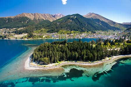 Queenstown and Lake Wakatipu, South Island, New Zealand - aerial